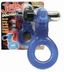 Vibrerende Jelly Dolfijn Cockring met batterijen